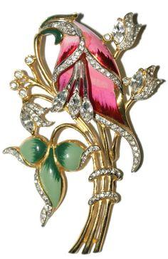 Coro Enamel Rhinestone Floral Trembler Pin Brooch 1940