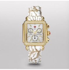 The rectangular case of the Deco Day Diamond Gold Diamond Dial reflects the geometric shapes identified with Art Deco architecture. Brilliant diamonds surround the white dial with diamonds. A Swiss chronograph and subdial for the day of the week, and the red MICHELE crown add the finishing touch. The neutral floral fashion patent leather strap is interchangeable with any 18mm Michele strap. 603-749-3129