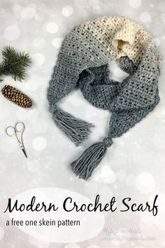 The Icicles Scarf is a one skein crochet pattern with a modern twist. The triangular shape of the edges can be embellished with tassels, fringe or pom poms. Enjoy Seven Days of Scarfie free crochet pattern #5! One Skein Crochet, Crochet Cowl Free Pattern, Crochet Scarves, Crochet Shawl, Crochet Clothes, Crochet Patterns, Crocheted Scarf, Crochet Granny, Crocheted Scarves Free Patterns