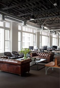 ♂ Masculine and industrial looking interior Studio -- Seating Inspiration for Reception or Executive Offices
