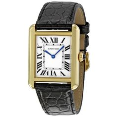 Cartier Tank Solo Small Ladies Watch ($3,895) ❤ liked on Polyvore featuring jewelry, watches, crown jewelry, steel watches, dial watches, water resistant watches and circle jewelry