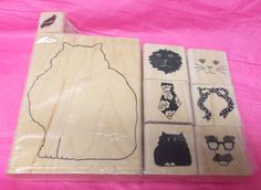 Paula Best rubber stamp lot Cat faces tie bow Projects paper crafting wood mount #PaulaBest #Catsfaces