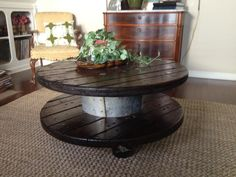Cable Spool Coffee Table by J.a. Wings Design.