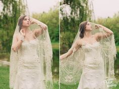 This cathedral length bridal veil is absolutely gorgeous!