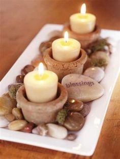 Create your own zen candle with rocks and candles. Write positive words on the rocks to remind you to be a positive light.