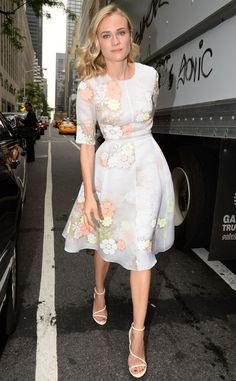 Elegant Avenue from Celebrity Street Style  Diane Kruger was her usual stylish self in a Honor dress while out in New York City.