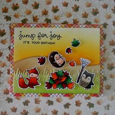 """A fall themed birthday card using the """"Jump For Joy"""" stamp set from """"Lawn Fawn""""."""