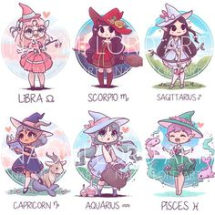 Anime Drawing ✨All the Zodiac Witches! ✨ ♈️♉️♊️♋️♌️♍️♎️♏️♐️♑️♒️♓️ Which one is your favourite? And would you like to see me draw Chinese Zodiac witches… - Zodiac Signs Astrology, Zodiac Star Signs, Astrology Numerology, Numerology Chart, Zodiac Horoscope, Chinese Zodiac Signs, Anime Zodiac, Zodiac Art, Chibi