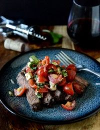 Red Wine Marinated Flank Steak with Cherry Tomato Caprese Salsa | How Sweet It Is