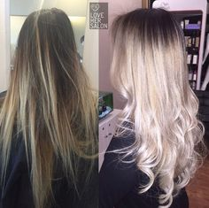 love her salon: Our secret to getting rid of unwanted warm brassy tones in between the base colour and lightened ends is to reverse balayage!  Double tap if you love seamless colour blends  #grannyweek #grey #balayage #highcontrast