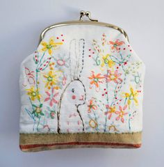 Purse : large coin/clutch  hand painted and by hensteeth on Etsy