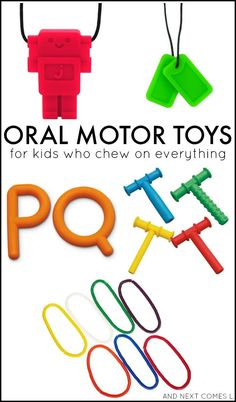 Oral motor activities for kids who chew on everything. Great suggestions for kids with autism and/or sensory processing issues. Includes a free printable and oral motor chewy toy suggestions. Oral Motor Activities, Sensory Activities, Therapy Activities, Infant Activities, Activities For Kids, Sensory Diet, Sensory Play, Autism Activities, Sorting Activities