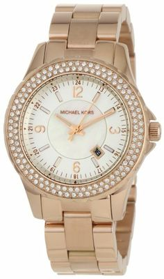 dbf955db0fb6 Michael Kors - Quartz Classic Rose Gold with White Dial Women s Watch - 120  clear stones around dial. Rose gold case and band. White Mother-Of-Pearl  dial.
