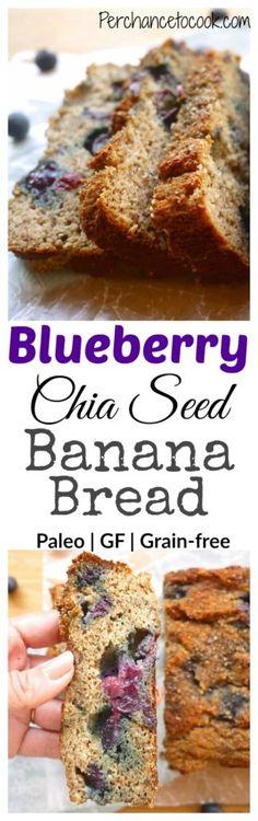 Blueberry Chia Banana Bread (paleo, GF)   Perchance to Cook, www.perchancetocook.com