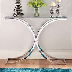 Houston Glass & Chrome Console Table £150