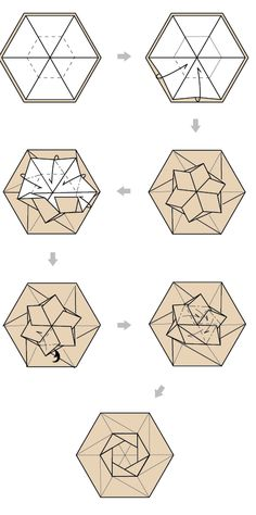 hexagon origami box - folding instructions for a fancy lid (version Diy Origami, Origami Quilt, Origami Paper Folding, Origami And Kirigami, Fabric Origami, Origami Stars, Origami Tutorial, Dollar Origami, Origami Ball
