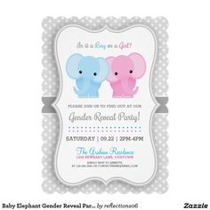 Baby Elephant Gender Reveal Party 5x7 Paper Invitation Card
