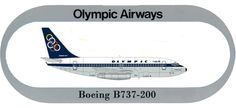 Olympic Airways Sticker Boeing B737-200 Olympic Airlines, Old Photos, Olympics, Greece, Aviation, Sticker, Military, Vintage, Old Pictures