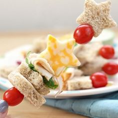 Kid-friendly lunch idea! Sandwich kabobs! So easy to make and so much more fun than the regular turkey sandwich!