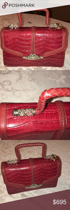 Cutest alligator Bag Ever Every girl needs a red alligator bag, this bag is in excellent condition, silver ornate hardware, can be crossbody😊 unbranded Bags Satchels