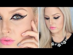 Bold Graphic Liner & Chaotic Lashes ♡ Glossy Pink Lips!