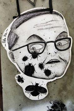 pole ka - street art - Paris 11 - Rue du parc royal! - face with flies - #R0UGH PIN MIX