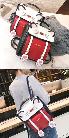 Cute Cartoon Sweet Animal Kitten School Bag Cat Girl Backpack  kitten   animal  cute e98555c1c6efd
