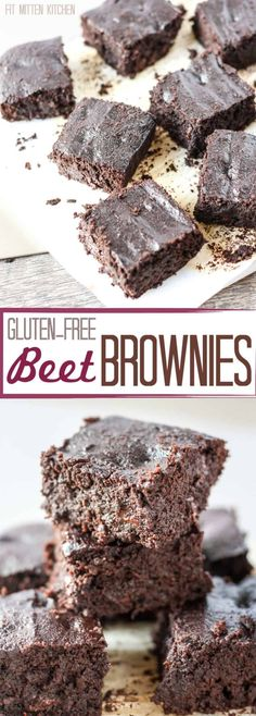 These Gluten-Free Beet Brownies are dense and packed with chocolate, you'd never guess there are beets in them! Paleo-friendly with dairy-free chocolate substitution! Gluten Free Baking, Gluten Free Desserts, Healthy Baking, Healthy Desserts, Gluten Free Recipes, Healthy Food, Healthy Recipes, Delicious Recipes, Skinny Recipes