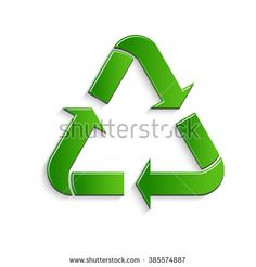 Recycle glossy green symbol. Vector graphic design - stock vector