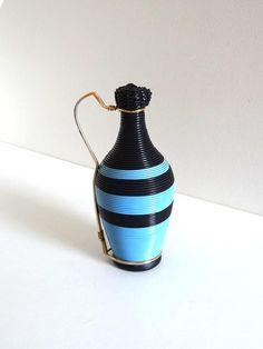 Vintage 60s Blue and Black Scoubidou Bottle  Mid Century