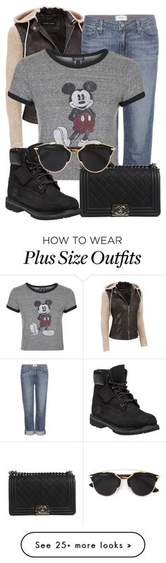 """""""Untitled #98"""" by its-about-time-someone on Polyvore featuring Black Rivet, Paige Denim, Topshop, Chanel, Timberland, Christian Dior and plus size clothing"""
