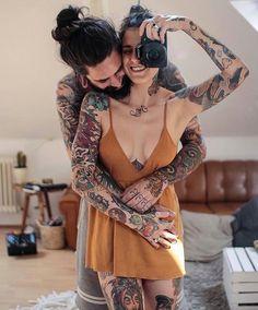 Cute tattooed couple