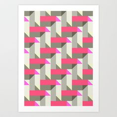 Herringbone geometric Art Print by Katy Clemmans - $15.00