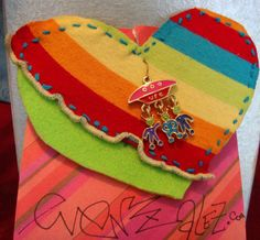 Large rainbows and aliens heart felt and fabric pin $5