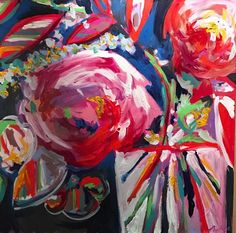 Flower Drawings Floral 9 - X painted on a gallery wrapped canvas. Original acrylic painting by contemporary artist Nicholas K Clark. Watercolor Paintings Abstract, Art Paintings, Acrylic Paintings, Flower Paintings, Flower Drawings, Watercolors, Gouache, Mediums Of Art, Abstract Flowers