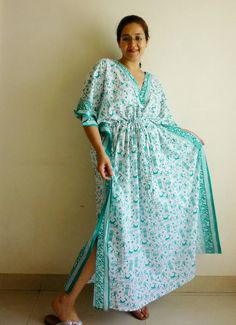2555a2f983 Nursing   maternity cotton caftan in teal Indian folk warli print. Night  gown
