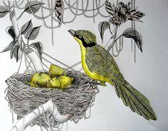 Yellow bird with lemons in it's nest