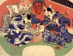 Cats take lessons (Neko no keiko) / Utagawa Kuniyoshi (Japanese Ukiyo-e Printmaker, ca.1797-1861)