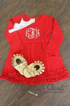 Monogrammed Valentine's Day Dress | Gentry's Closet | $26 | Click link to shop: http://gentryscloset.com/collections/valentines-day/products/monogrammed-christmas-dress-red-ruffle-xmas-dress-with-monogram-for-baby-girl-toddler-little-girl-cute-christmas-holiday-outfit