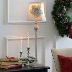 Cream Shimmer Flower Buffet Lamp