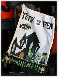 Tamara used a canvas bag and iron on decal paper with the Printables in SPOOKY CUTIES SVG CUTS COLLECTION!  Awesome!