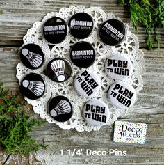 """12 Badminton Sport * 1 1/4"""" PINBACK Buttons - Party Favor for your Team! USA NEW #DecorativeGreetingsInc #4eachof3stylesasshowninphoto #PinbackBUTTONBADGE114individuallybagged"""