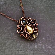 COLIBRI pendant, copper, brass, labradorite, patina, forging.  by KL-WireDream on DeviantArt