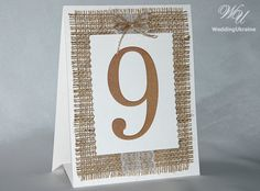 Rustic Wedding table numbers with burlap lace by WeddingUkraine