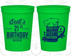 21st Birthday Party Cups, Birthday Cups, Cheers to a Hoppy Birthday, Birthday Party Cups (20005)