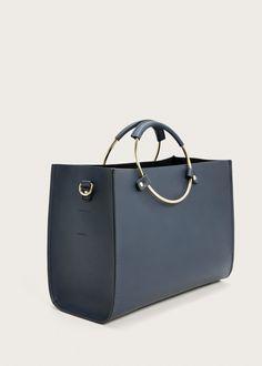 cbd3412527c7 Metallic handle tote bag - Bags Plus sizes
