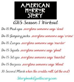 American Horror Story Season 1 TV Workout  // TV Show Workouts to do During Your Favorite Shows! // StorybookApothecary.com #fitness #health #workout #tvworkout #ahsfx #americanhorrorstory