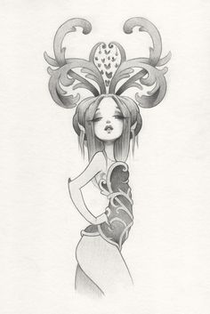 Collector, Pencil Drawing. Could be a fun hair project?