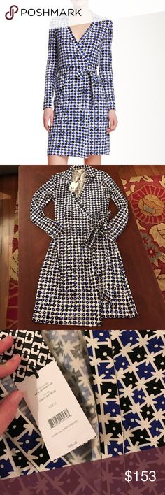 OPEN TO OFFERS💕Diane Von Furstenburg Wrap Dress Brand new with tags!! Diane Von Furstenburg DVF signature wrap dress! The style is called new Jeanne two and the color is check dot blue! Size 6! Retail value $398! No trades🙅😊 make an offer! Diane von Furstenberg Dresses Long Sleeve