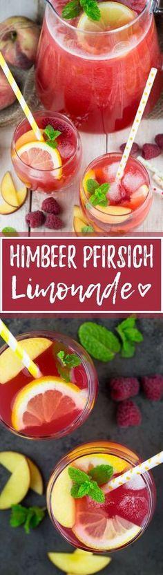 Limonade muss nicht immer vollgepackt sein mit Zucker. Diese selbstgemachte Limonade mit Himbeeren und Pfirsich ist unglaublich lecker und erfrischend!